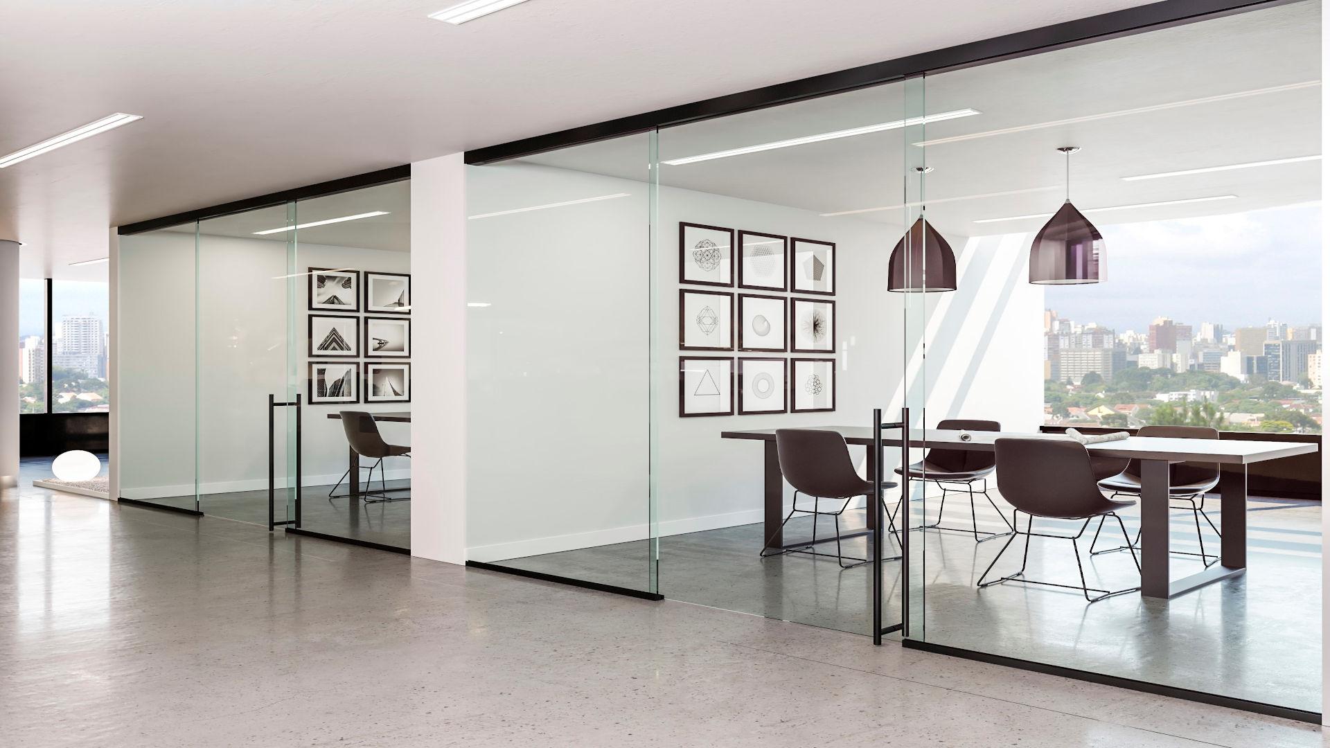 Büro mit Glasschiebetüren