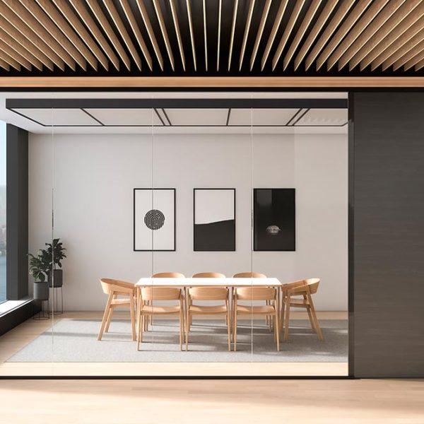 Raum mit Glastrennwand