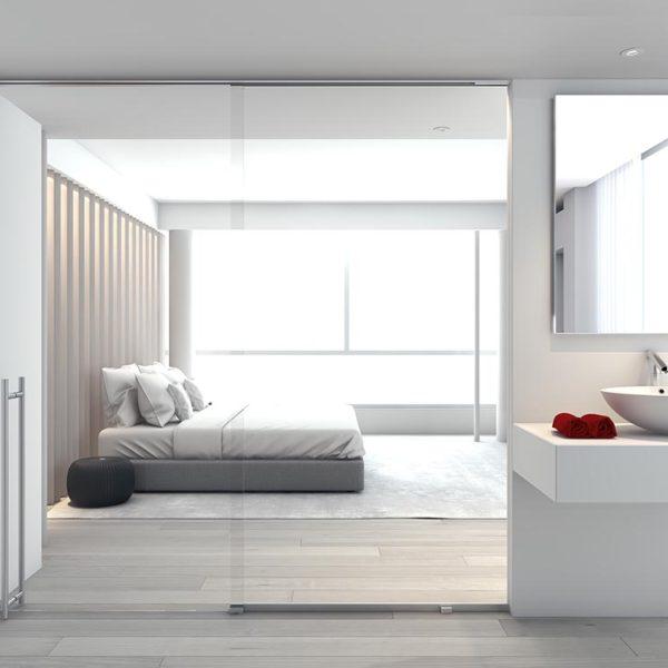 Wohnraum mit Glastrennwand